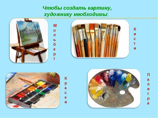 Чтобы создать картину, художнику необходимы: Мольберт Кисти Краски Палитра