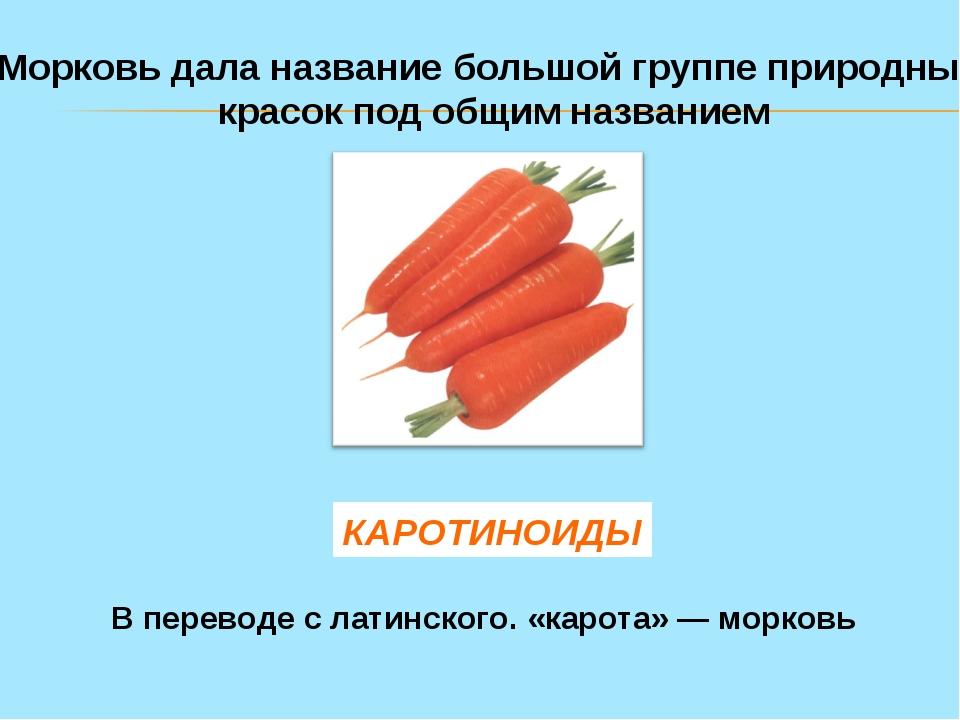 Морковь дала название большой группе природных красок под общим названием КАР...