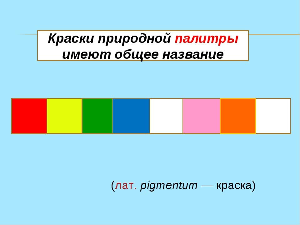 П И Г М Е Н Т Ы Краски природной палитры имеют общее название Пигме́нт(лат....