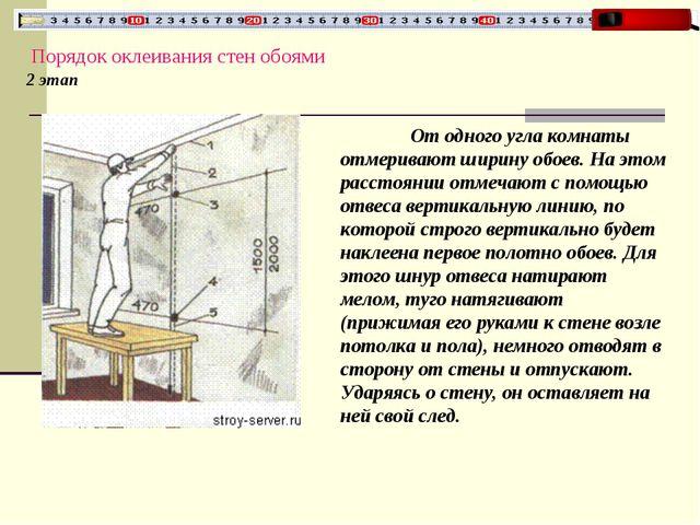 Порядок оклеивания стен обоями 2 этап От одного угла комнаты отмеривают шири...