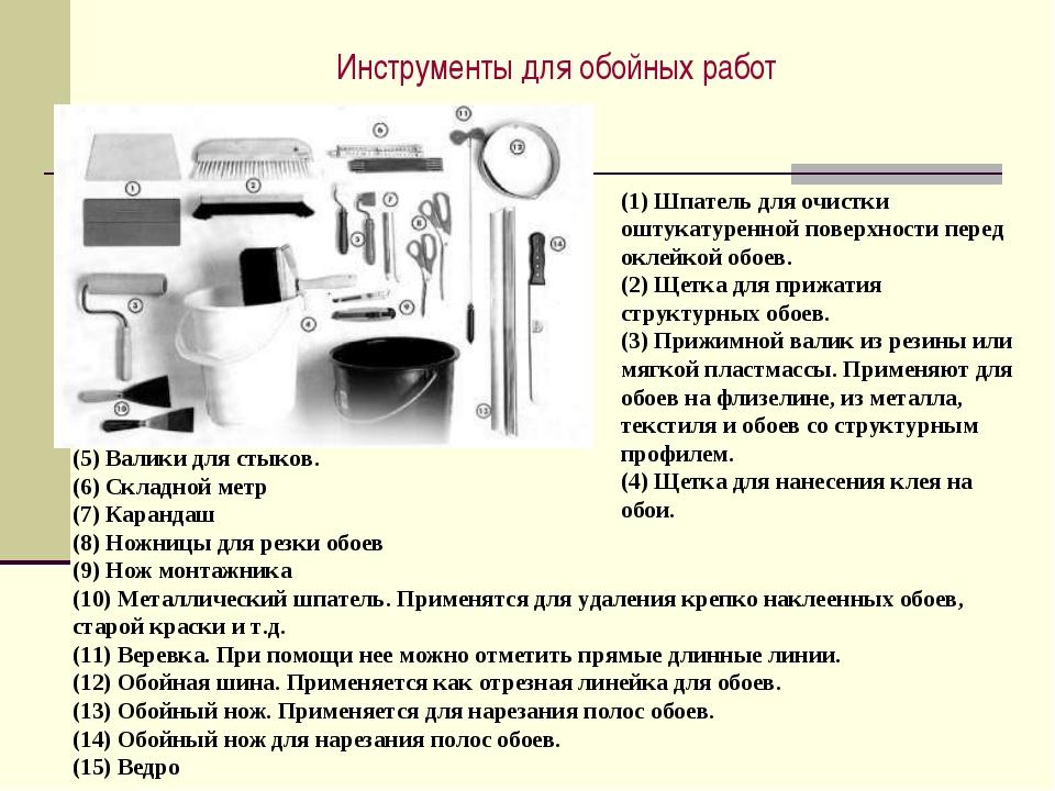 Инструменты для обойных работ (5) Валики для стыков. (6) Складной метр (7) Ка...