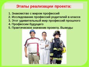 Этапы реализации проекта: Знакомство с миром профессий Исследование професси