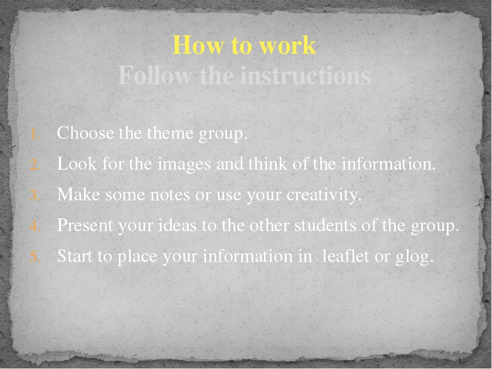 Choose the theme group. Look for the images and think of the information. Mak...