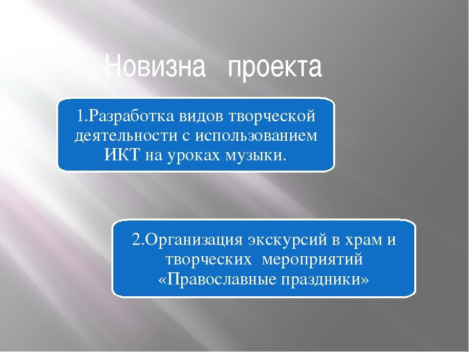 Новизна проекта 1.Разработка видов творческой деятельности с использованием И...