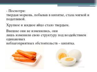 - Посмотри: твердая морковь, побывав в кипятке, стала мягкой и податливой. Хр