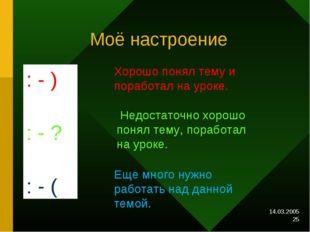 14.03.2005 * Моё настроение : - ) : - ? : - ( Хорошо понял тему и поработал н