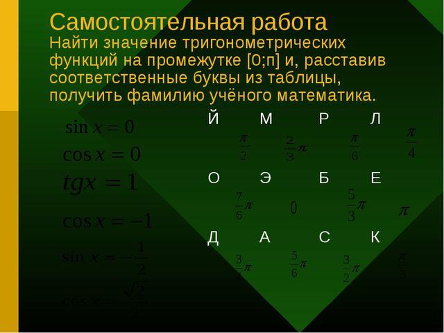 Самостоятельная работа Найти значение тригонометрических функций на промежутк...