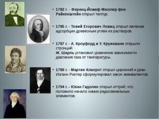 1782 г. - Ференц-Йожеф Мюллер фон Райхенштейн открыл теллур. 1785 г.- Товий