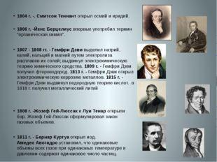 1804 г.-. Смитсон Теннант открыл осмий и иридий. 1806 г.-Йенс Берцелиус в