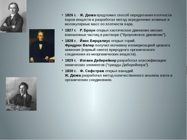 1826 г.- Ж. Дюма предложил способ определения плотности паров веществ и раз...
