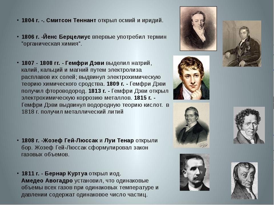1804 г.-. Смитсон Теннант открыл осмий и иридий. 1806 г.-Йенс Берцелиус в...