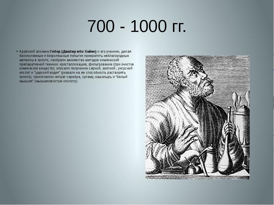 700 - 1000 гг. Арабский алхимик Гебер (Джабир ибн Хайян) и его ученики, делая...