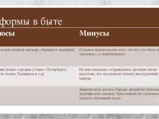 Реформы в быте Плюсы Минусы Много новоймодной одежды, обрядов и традиций Силь