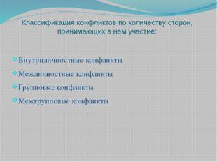 Классификация конфликтов по количеству сторон, принимающих в нем участие: Вну