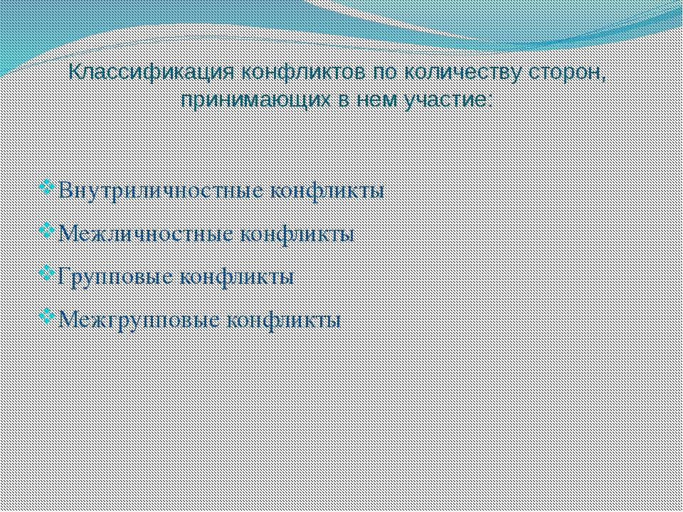 Классификация конфликтов по количеству сторон, принимающих в нем участие: Вну...