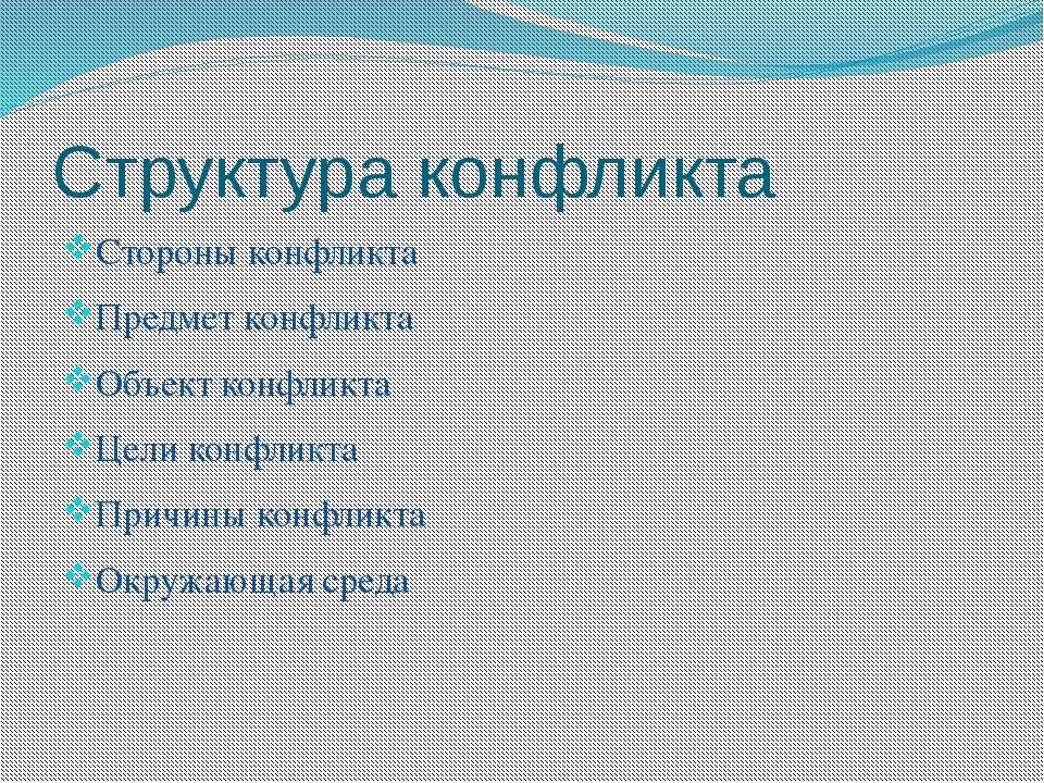 Структура конфликта Стороны конфликта Предмет конфликта Объект конфликта Цели...