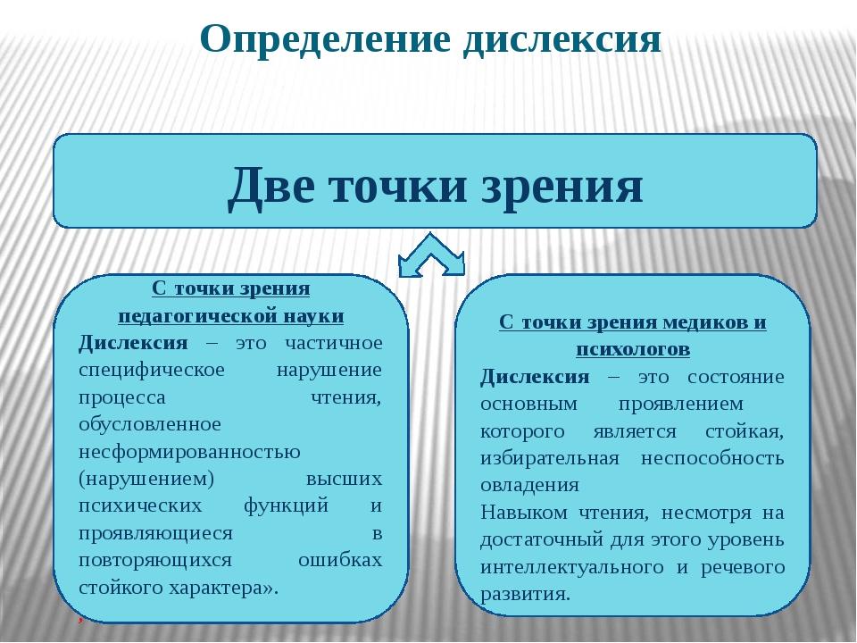 Определение дислексия Две точки зрения С точки зрения педагогической науки Ди...