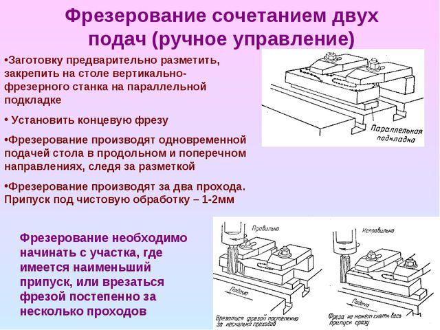 Фрезерование сочетанием двух подач (ручное управление) Заготовку предваритель...