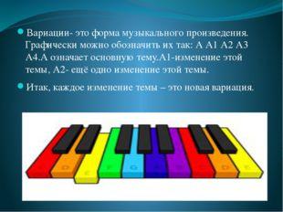 Вариации- это форма музыкального произведения. Графически можно обозначить и