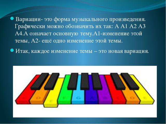 Вариации- это форма музыкального произведения. Графически можно обозначить и...