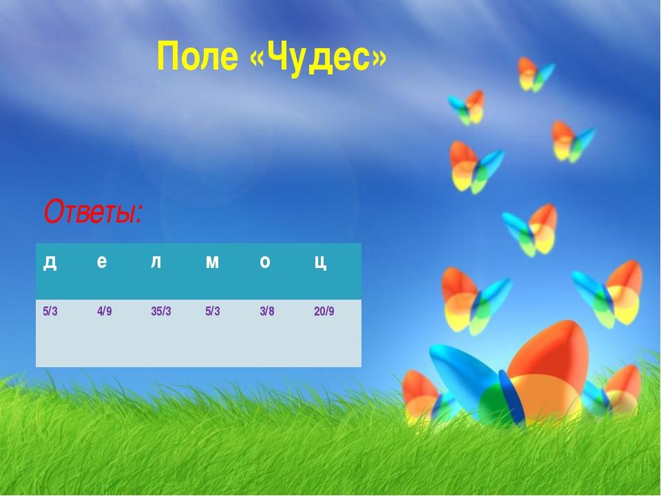 Поле «Чудес» Ответы: делмоц 5/34/935/35/33/820/9