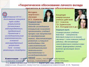 «Теоретическое обоснование личного вклада педагога в развитие образования» Ко