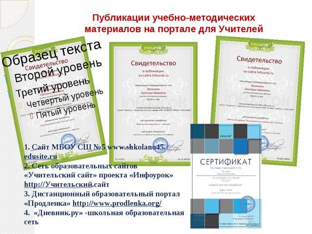 Публикации учебно-методических материалов на портале для Учителей 1. Сайт МБО...