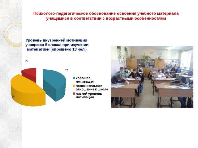 Психолого-педагогическое обоснование освоения учебного материала учащимися в...