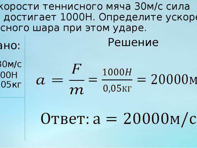 При скорости теннисного мяча 30м/с сила удара достигает 1000Н. Определите уск...