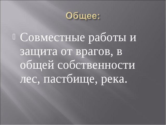 Совместные работы и защита от врагов, в общей собственности лес, пастбище, ре...