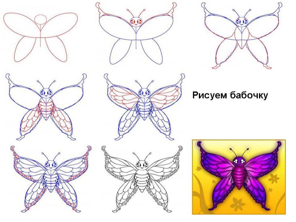 Смотреть как рисовать бабочку