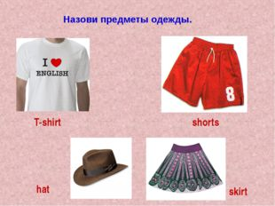 Назови предметы одежды. T-shirt shorts hat skirt