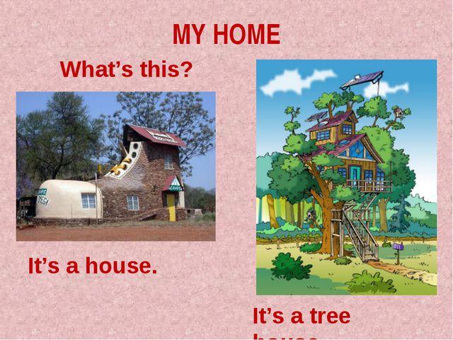 MY HOME What's this? It's a house. It's a tree house.