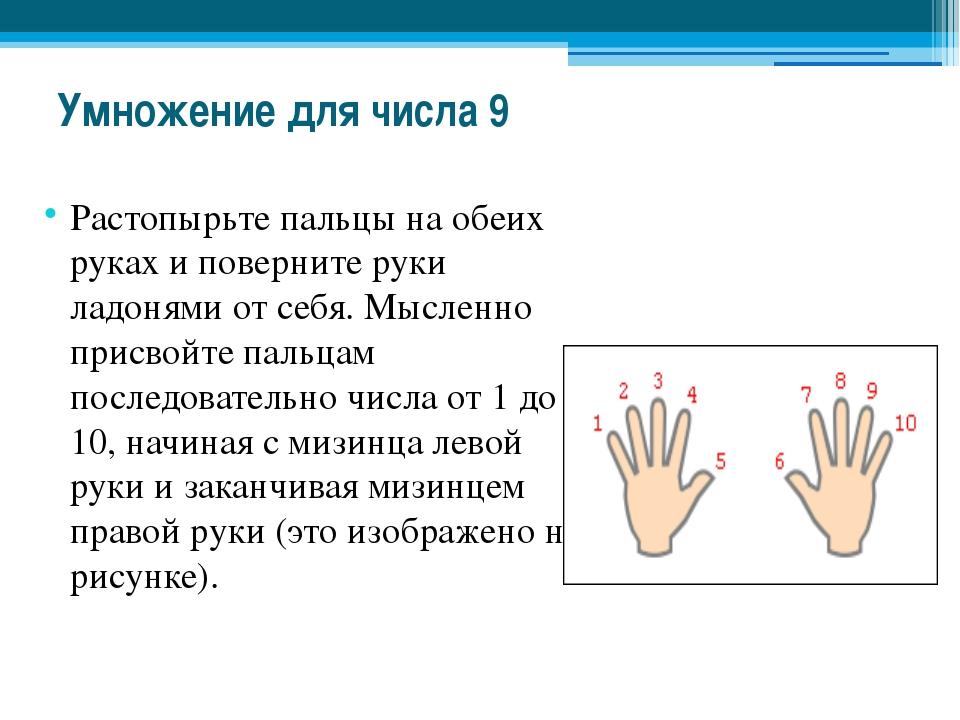 Умножение для числа 9 Растопырьте пальцы на обеих руках и поверните руки ладо...