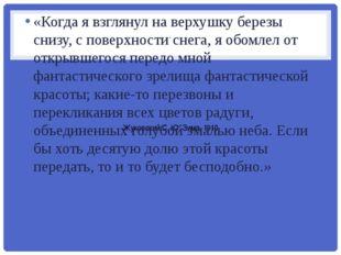 . Жуковский С. Ю. Зима. 1910 «Когда я взглянул на верхушку березы снизу, с по