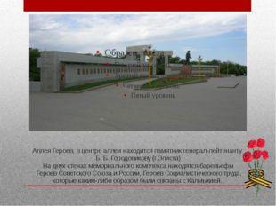 Аллея Героев, в центре аллеи находится памятник генерал-лейтенанту Б. Б. Горо