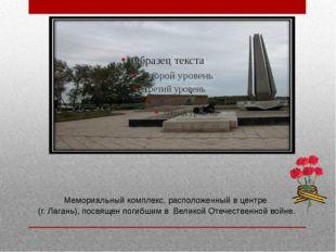 Мемориальный комплекс, расположенный в центре (г. Лагань), посвящен погибшим