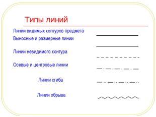 Типы линий Линии видимых контуров предмета Выносные и размерные линии Линии н