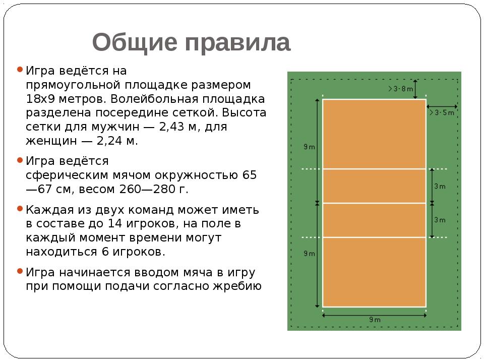 Общие правила Игра ведётся на прямоугольнойплощадкеразмером 18х9 метров. Во...