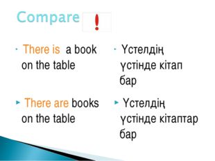 There is a book on the table Үстелдің үстінде кітап бар There are books on t