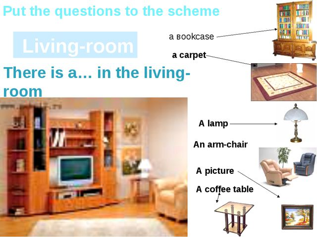 Living-room Put the questions to the scheme а вookcase A picture a carpet A...