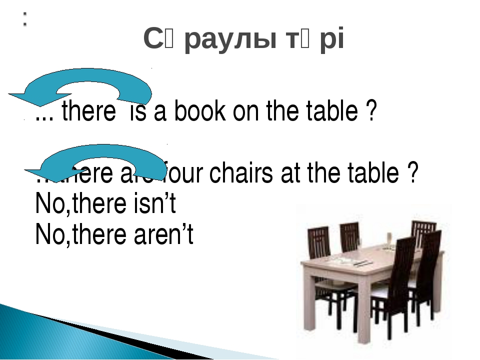 ... there is a book on the table ? …there are four chairs at the table ? No,t...