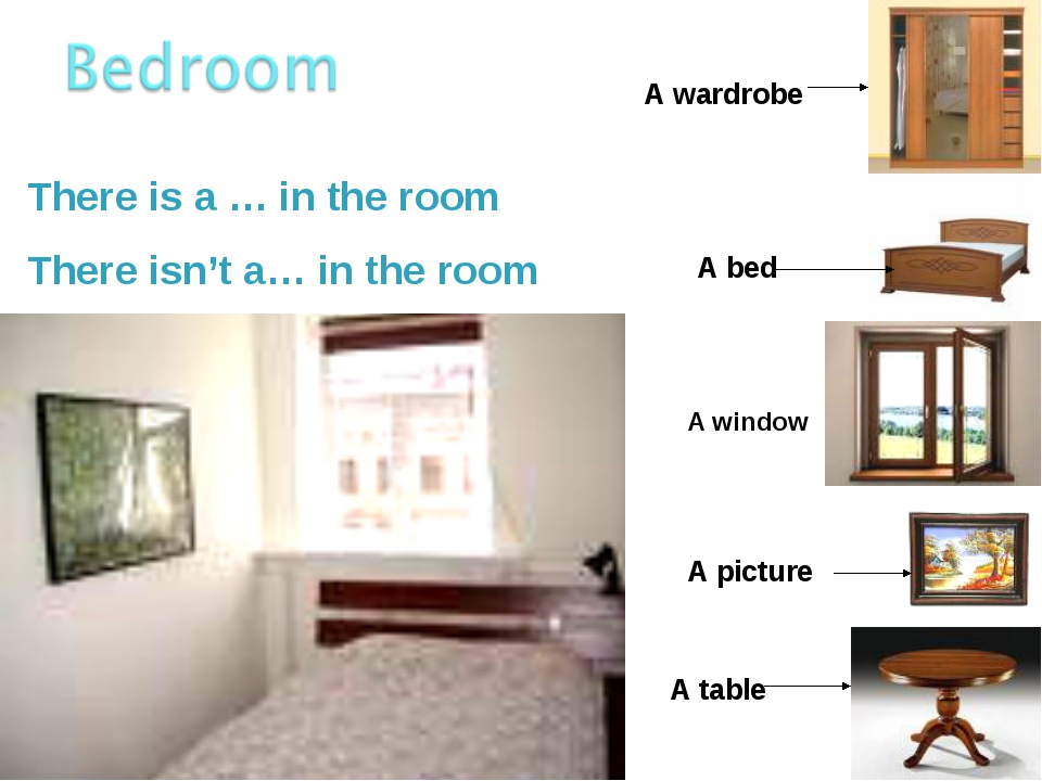 There is a … in the room There isn't a… in the room A wardrobe A table A pict...