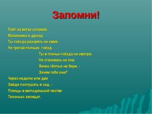 Запомни! Поёт на ветке соловей, Малиновка и дрозд: Ты гнёзда разорять не смей