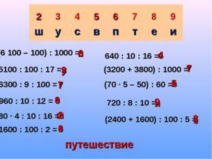 (6 100 – 100) : 1000 = 5100 : 100 : 17 = 6300 : 9 : 100 = 960 : 10 : 12 = 80