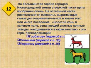 На большинстве гербов городов Нижегородской земли в верхней части щита изобр