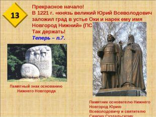 Прекрасное начало! В 1221 г. «князь великий Юрий Всеволодович заложил град в