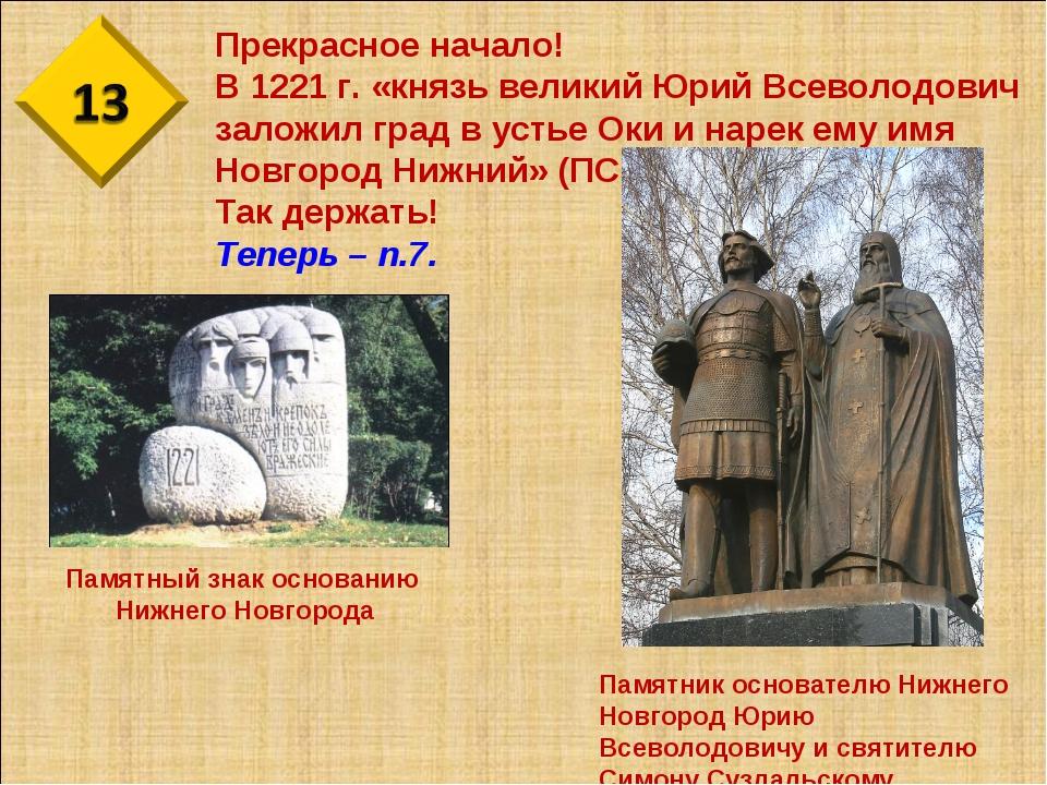 Прекрасное начало! В 1221 г. «князь великий Юрий Всеволодович заложил град в...