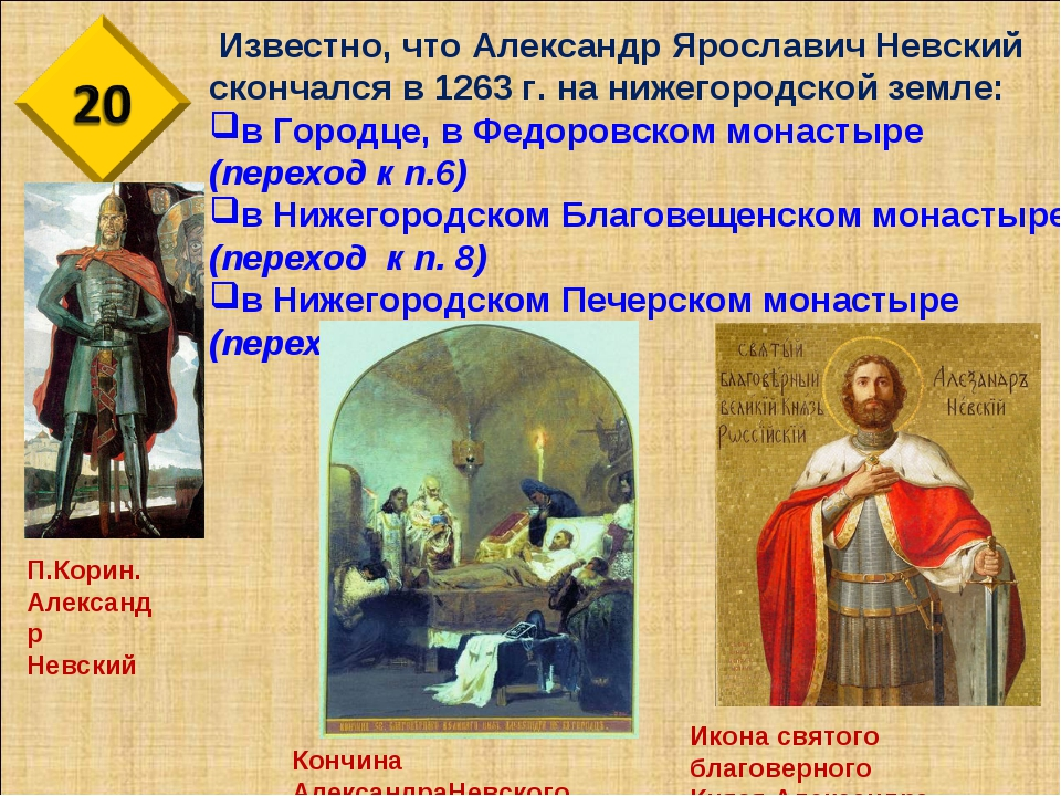 Известно, что Александр Ярославич Невский скончался в 1263 г. на нижегородск...