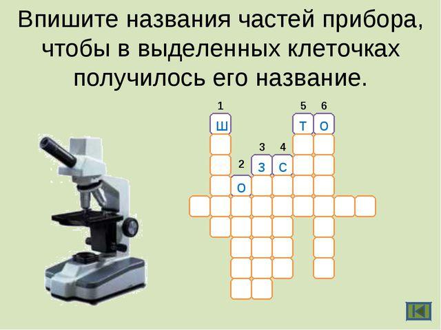 Впишите названия частей прибора, чтобы в выделенных клеточках получилось его...